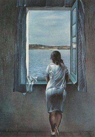 Muchacha asomadda a la ventana de Dalí