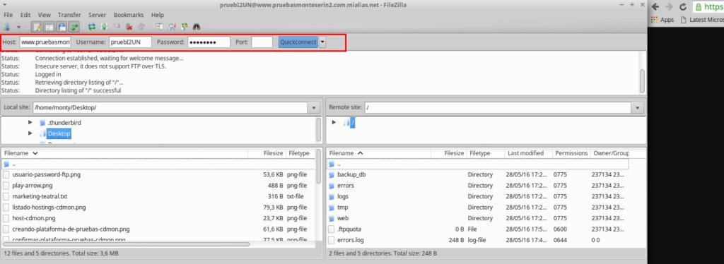 Conexión por FTP usando Filezilla