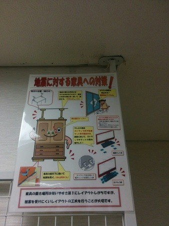 Bridas para sujetar los muebles en el museo de los terremotos en Ikebukuro, Tokyo