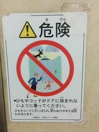 Señal de peligro al coger un ascensor con mascota en Japón