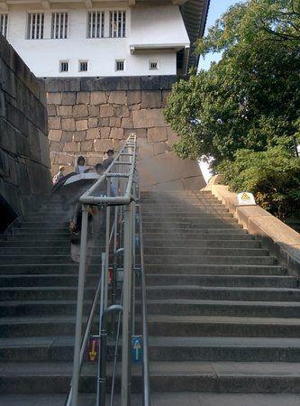 Escaleras de entrada al Osaka Jo, Castillo de Osaka