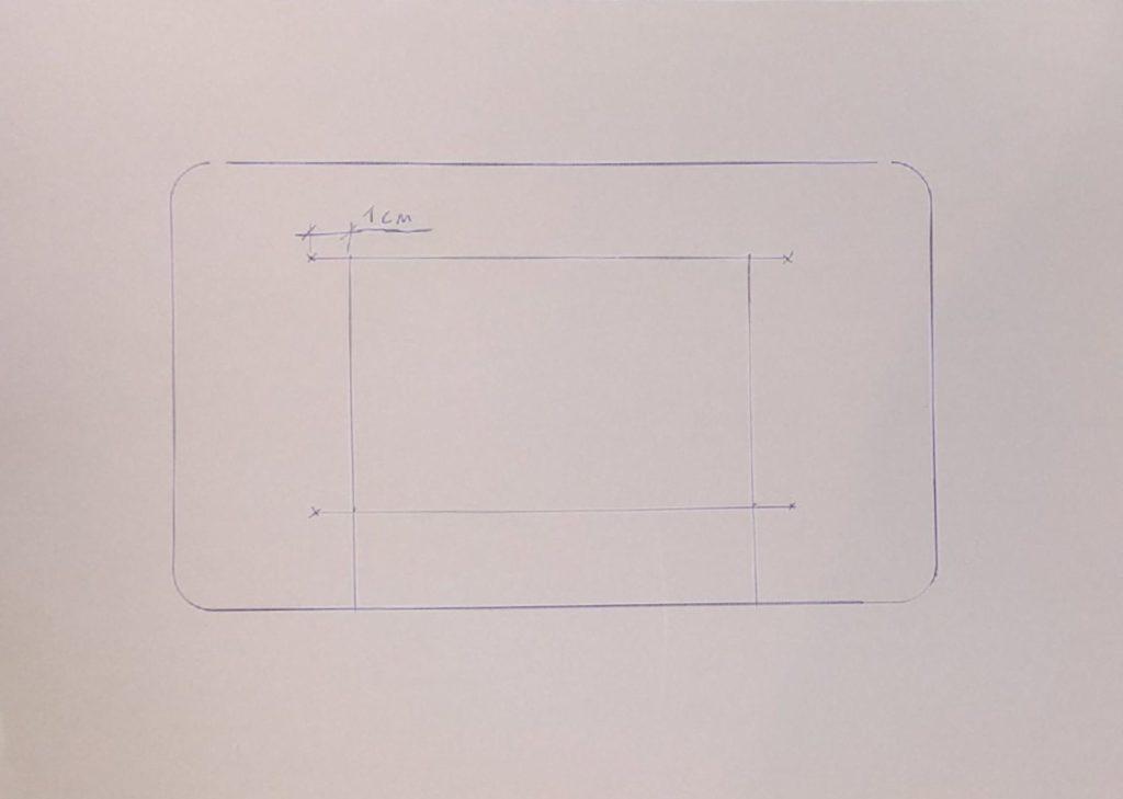 dibujo carcasa raspberry pi con contorno agujero