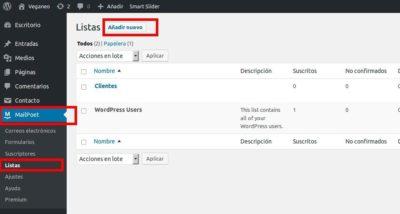Añadir una nueva lista de suscriptores a la newsletter de WordPress usando Mailpoet
