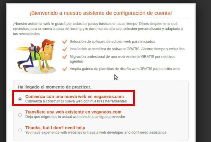 asistente de configuración de una cuenta de siteground