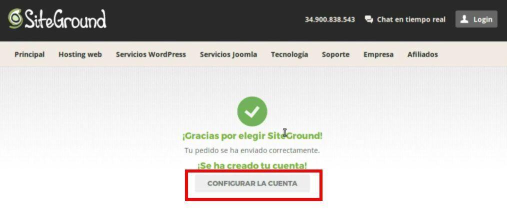 configuración de una cuenta en siteground