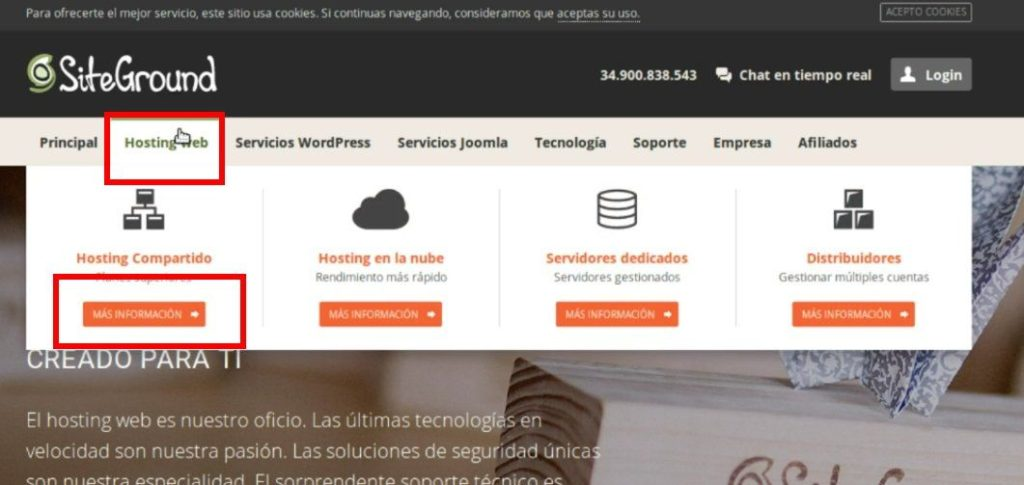 registro de un hosting en siteground