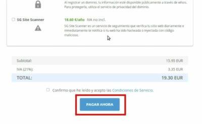 Pantalla de pago de registro de un dominio en WordPress