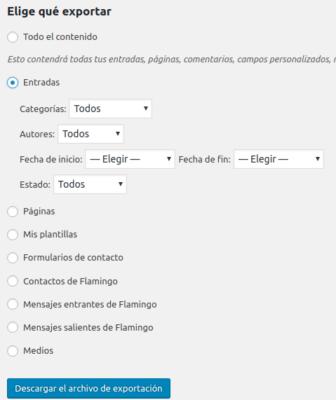 Importar desde blogger, otro wordpress, etc. a servidor 2