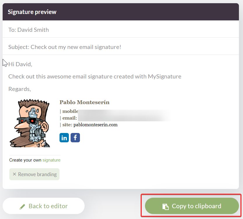 Firma de correo electrónico personalizada