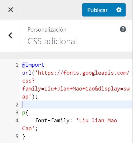 Cambiar letras en Wordpress 2