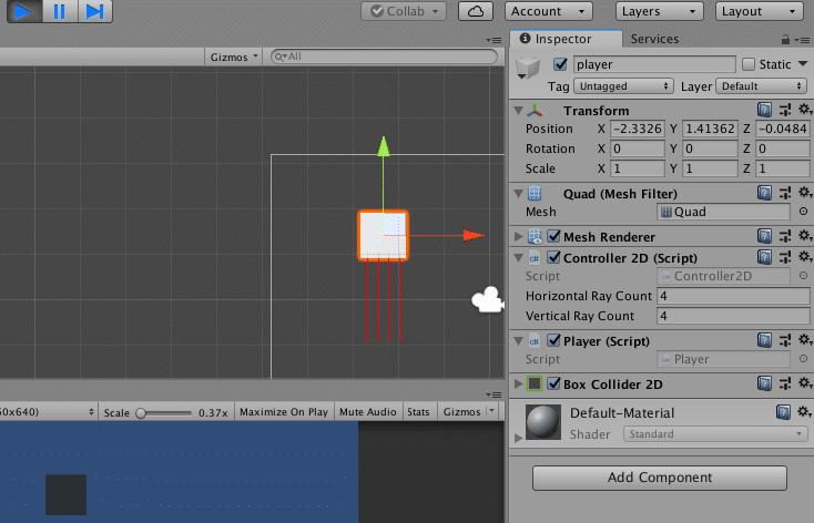 cubo con rayos en unity 3d