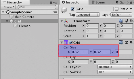 unity3d cell size